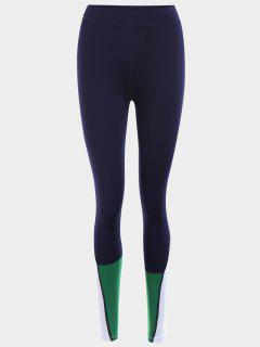 Color Block Sports Leggings - Purplish Blue M