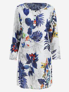 Leaves Print Shift Dress With Pockets - Blue M
