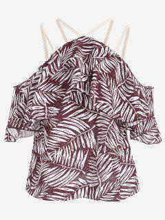 Leaves Print Cold Shoulder Cami Blouse - Dark Red