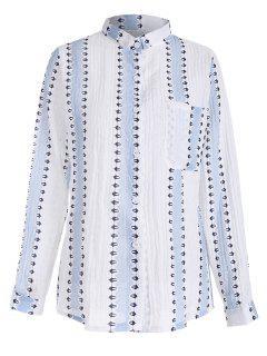 Knopf Oben Gestreiftes Shirt Mit Tasche - Hellblau S