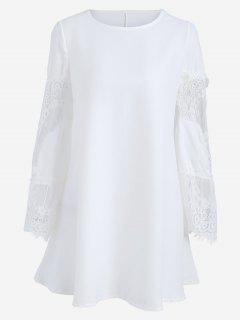Long Sleeve Lace Panel Dress - White S