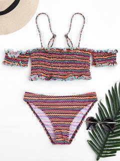 Colorful Zig Zag Smocked Bikini Set - S