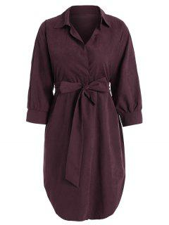Belted Plain High Low Dress - Wine Red S