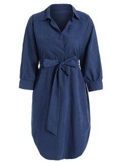 Belted Plain High Low Dress - Blue S