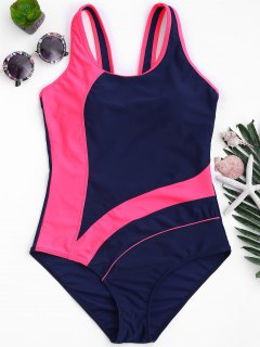 One Piece Cut Out Color Block Swimwear - Blue And Pink S