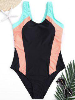 Scoop Cut Out Color Block Swimwear - S