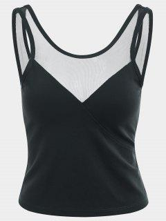 Mesh Panel Backless Sports Tank Top - Black S
