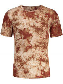 Men Round Neck Tie Dyed Tee - Light Coffee M