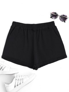 Rolled Cuff Elastic Waist Sports Shorts - Black M