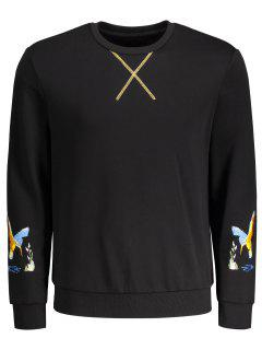 Crisscross Bird Print Pullover Hoodie - Black M