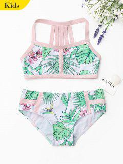 Strappy Leaf Print Kids Bikini Set - White And Green 7t