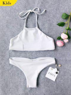 Halter Cute Kid Bikini - White 6t