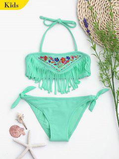 Tie Side Embroidered Fringes Kid Bikini - Light Green 5t