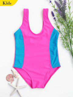 Back Low Cut Two Tone Kid Swimwear - Tutti Frutti 6t