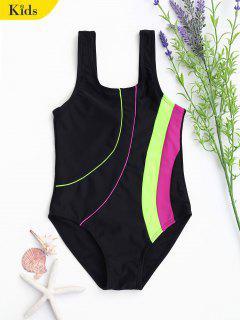 Back Low Cut Color Block Kid Swimwear - Noir 8t
