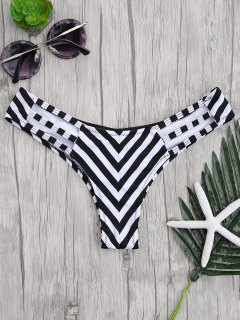 Striped Cut Out Thong Bikini Bottoms - Stripe S