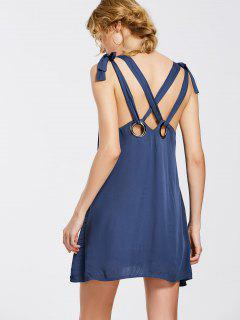 Bowknot Criss Cross Mini Dress - Purplish Blue L
