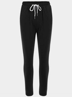 Striped Drawstring Sports Pants - Black L