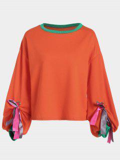 Gathered Sleeve Bowknot Sweatshirt - Orangepink