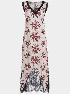 Lace Trim Floral Stripes Maxi Dress - Red Xl