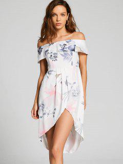 Blumenüberlagerung Aus Schulter Asymmetrisches Kleid - Weiß Xl