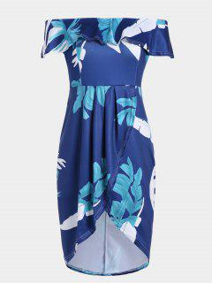 Floral Overlay Off Shoulder Asymmetrical Dress - Deep Blue L
