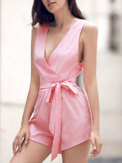 Waisted Plunging Neck Solid Color Romper - Pink M