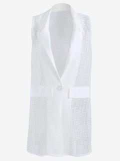 Hollow Out Faux Pockets Long Waistcoat - White