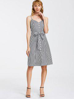 Button Up Striped Belted Mini Dress - White And Black S