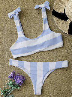 Striped Tie Shoulder Scoop Bikini Set - Blue And White L