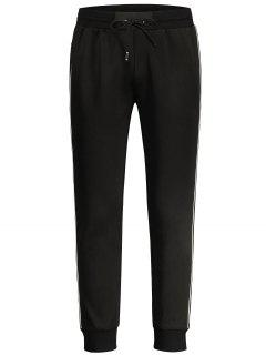 Drawstring Contrast Stripe Jogger Pants - Black M