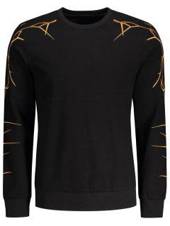 Pullover Casual Embroidery Sweatshirt - Black L