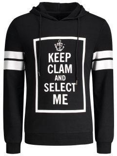 Stripe Trim Pullover Graphic Hoodie - Black M