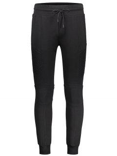 Ribbed Side Casual Jogger Pants - Black L
