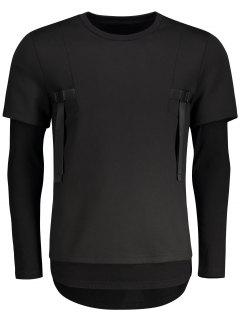 Double-sleeve Low High Hem Sweatshirt - Black 2xl