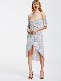 Stripes Ruffles Off Shoulder Asymmetrical Dress - Stripe S