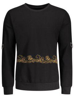Metal Ring Decor Printed Sweatshirt - Black 2xl