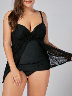 Lace Insert Plus Size Push Up Underwire Tankini - Black 5xl
