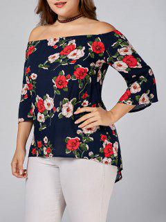 Floral Printed Plus Size Off Shoulder Blouse - Deep Blue 3xl