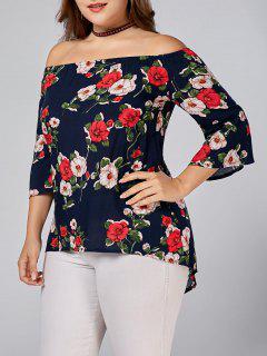 Floral Printed Plus Size Off Shoulder Blouse - Deep Blue 3xl
