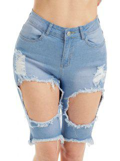 Denim High Waist Ripped Bermuda Shorts - Bleu 2xl