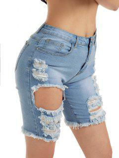 Distressed Bermuda Jean Shorts - Blue S