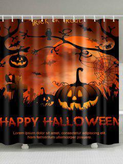Happy Halloween Bathroom Decor Shower Curtain - Gold Brown W71 Inch * L79 Inch