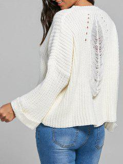 Back Ripped Openwork Pullover Sweater - White