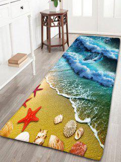 Impresión De La Estrella De Mar De La Playa Alfombrilla Antideslizante De La Franela - Ancho 24 Pulgadas * Longitud 71 Pulgadas