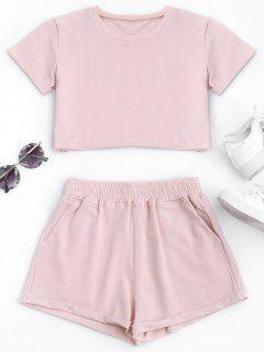 Cotton Sports Cropped Top And Shorts Suit - Pink M