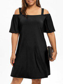 Plus Size Cold Shoulder Half Sleeve Dress - Black 5xl