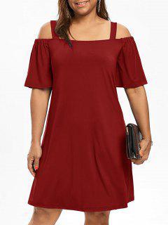 Plus Size Cold Shoulder Half Sleeve Dress - Wine Red Xl