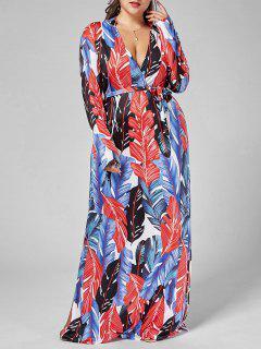 Palm Leaf Print Long Sleeve Plus Size Dress - Multi 3xl