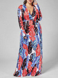 Palm Leaf Print Long Sleeve Plus Size Dress - Multi 5xl